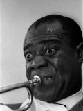 Louis Armstrong Jazz Musician, During His First Concert in Great Britain, May 1956 Reproduction photographique