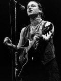 U2 Irish Pop Singer Bono Playing Guitar and Singing at Wembley Arena, 1987 Photographic Print