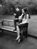 Bob Dylan and Joan Biaz in the Savoy Gardens, April 1965 Photographic Print