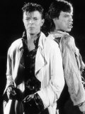 David Bowie with Mick Jagger Performing Their Hit Single Dancing in the Streets Fotografisk tryk