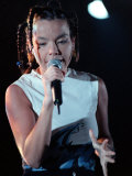 Bjork Singer from Iceland at the Irvine Festival with Microphone in Hand and Pigtails in Her Hair Reproduction photographique
