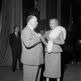 Film Director Alfred Hitchcock and Marlene Dietrich on the Set of Stage Fright Photographic Print