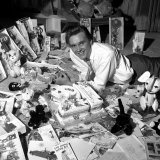 Billy Fury Singer on His 21st Birthday Laying on Floor Wityh Birthday Cake and Cards, April 1962 Fotografisk tryk