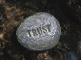 Rock with the Word Trust in Water Stampa fotografica