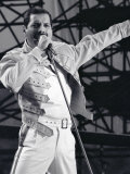 Freddie Mercury from Queen in Concert at St, James Park in Newcastle, July 1986 Fotografisk tryk