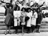 Diana Ross and the Supremes with Pop Groups from the Motown Company of Chicago, 1965 Fotografisk tryk