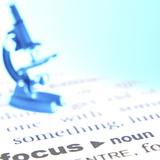 Microscope Sitting on Definition of Focus Fotografie-Druck