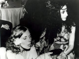 Joni Mitchell and Cher at a Party on the Queen Mary Liner Held by Paul and Linda McCartney, 1975 Reproduction photographique