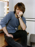 Jon Bon Jovi American Pop Singer Bon Jovi Group Sitting in His Dressing Room Fotografisk tryk