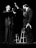 Luciano Pavarotti Opera Singer at a New York Concert with Frank Sinatra Fotografisk tryk
