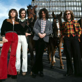 Slade in Glasgow with Horses, to Publicise the Film Slade in the Flame, March 1975 Fotografisk tryk