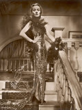 Marlene Dietrich a Signed Photograph of Her Wearing a Very Sparkly Dress and Lace Boa Photographic Print