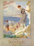 Woman Cautiously Descends a Cliff Path to the Beach Clutching Her Precious Kodak Fotografie-Druck