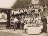 Fine Display of Meat Displayed Outside a Butcher's Shop Fotografie-Druck