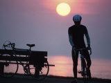 Silhouette of Cyclist Impressão fotográfica