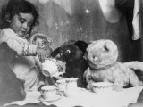 Little Girl Hosts a Tea Party, Three Bears and a Doll Attend Lámina fotográfica