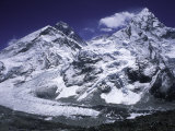 Mount Everest and Ama Dablam Seperated by a Glacier, Nepal Photographic Print by Michael Brown