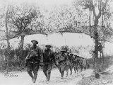 U.S. Army Infantry Troops Marching Northwest of Verdun, France, in World War I, 1918 Foto