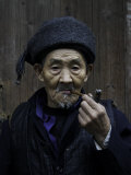 An Old Man Smoking Pipe, China Photographic Print by Ryan Ross