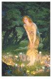 Midsommeraften, Midsummer Eve, ca. 1908 Plakat af Edward Robert Hughes