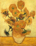 Vase of Fifteen Sunflowers, c.1889 高品質プリント : フィンセント・ファン・ゴッホ