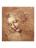 女の頭部(ラ・スカピリアータ) 1508年 高品質プリント : レオナルド・ダ・ヴィンチ