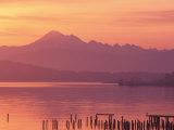 Mt. Baker and Puget Sound at Dawn, Anacortes, Washington, USA Sträckt kanvastryck av William Sutton