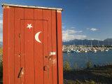 Outhouse and Boat Harbor, Homer, Kenai Peninsula, Alaska, USA Photographic Print by Walter Bibikow