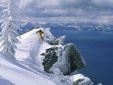 Skier Atop a Mountain Lámina fotográfica