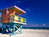 Life Guard Station, South Beach, Miami, Florida, USA Fotografie-Druck von Terry Eggers