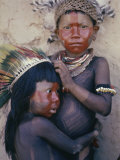 Caipo Indian Children, Xingu River, Brazil Lámina fotográfica