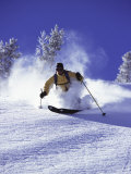Low Angle View of a Man Skiing Photographic Print