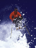 Low Angle View of a Man Skiing Lámina fotográfica