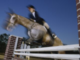 Low Angle View of a Woman Riding a Horse Over a Hurdle Lámina fotográfica