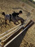 High Angle View of a Woman Riding a Horse Over a Hurdle Lámina fotográfica