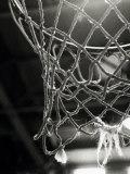 Close-up van een basketbalnet Fotoprint