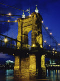 Roebling Suspension Bridge, Cincinnati, Ohio, USA Lámina fotográfica