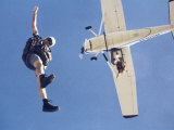 Skydivers Jumping from Plane Photographic Print