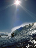 Surfer Silhouette with Sunburst Photographic Print