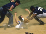 Baseball Player Sliding on a Base Fotoprint