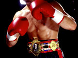 Torso of a Male Boxer Wearing Boxing Gloves and a Belt Lámina fotográfica