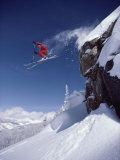 Airborne Skier in Red Fotografisk tryk