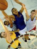 High Angle View of Young Women Playing Basketball Lámina fotográfica