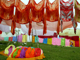 Clothes Hang on a Line to Dry after Being Washed on the Banks of the River Gomti Photographic Print