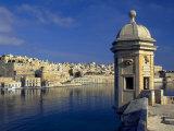 View of Harbor and Fortress Turret, Valletta, Malta Fotografie-Druck von Robin Hill