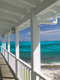 Porch View of the Atlantic Ocean, Loyalist Cays, Abacos, Bahamas Stretched Canvas Print by Walter Bibikow