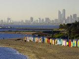Bathing Boxes, Middle Brighton Beach, Melbourne, Victoria, Australia Reproduction photographique par David Wall