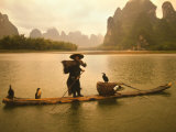 Fisherman in Bamboo Raft on the Li River, China Photographic Print by Keren Su