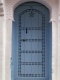 Moorish-styled Blue Door and Whitewashed Home, Morocco Photographic Print by John & Lisa Merrill