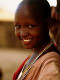Maasai Girl, Masai Mara National Reserve, Kenya Fotografisk tryk af Tom Cockrem